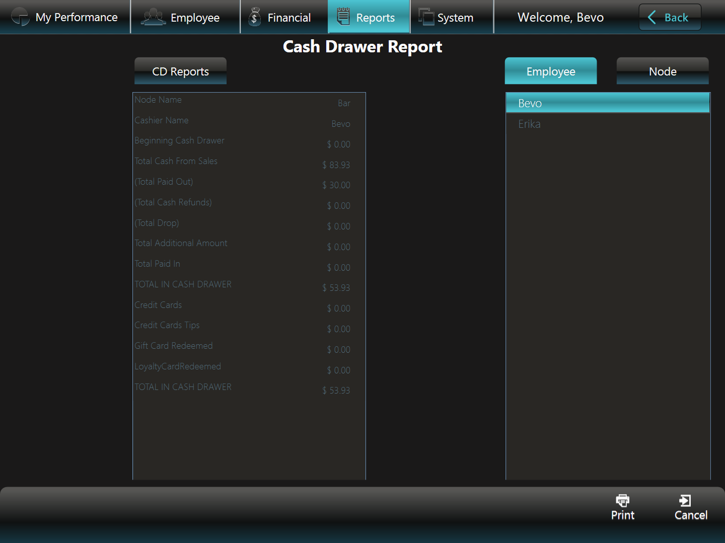 Cash Drawer Report - Employee
